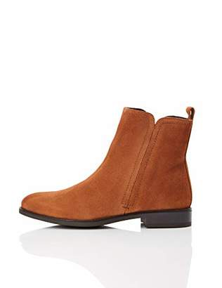 find. Flat Leather Pull On Ankle Boots, Blue Navy)