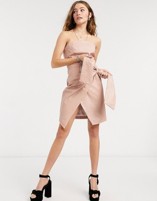 Collective the Label PU bandeau wrap mini dress with waist tie detail in taupe