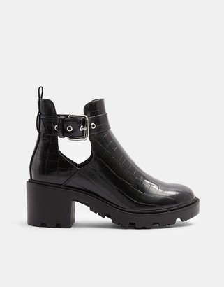 Topshop cut-out heeled boots in black