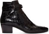 Saint Laurent Black Croc-Embossed Blake Boots