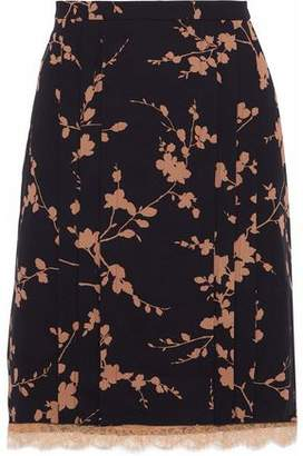 Michael Kors Layered Floral-print Silk And Corded Lace Skirt