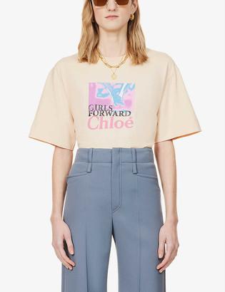 Chloé Graphic-print scoop-neck organic cotton-jersey T-shirt