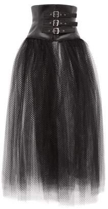 Noir Kei Ninomiya Faux Leather-corset Mesh Skirt - Womens - Black
