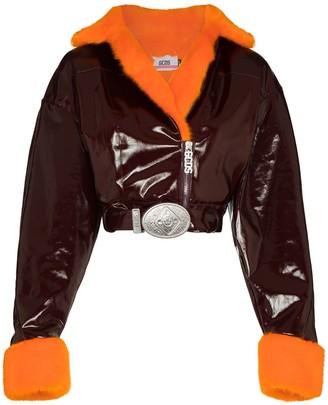 GCDS Faux-Fur Cropped Biker Jacket