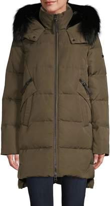 Derek Lam 10 Crosby Fox Fur-Trim & Faux Fur Lined Down Coat
