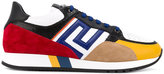Versace Grecian colour block sneakers - men - Cotton/Calf Leather/Leather/rubber - 39
