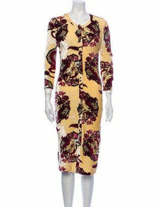 Paco Rabanne Floral Print Knee-Length Dress Yellow