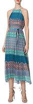 Donna Morgan Pleated Printed Midi Halter Dress