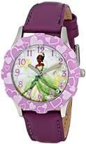Disney Kids' W001600 Tiana Stainless Steel and Purple Leather Strap Watch, Analog Display, Purple Watch
