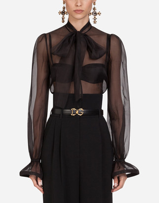 Dolce & Gabbana Organza Shirt With Bow