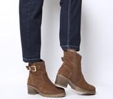 Office Ark Casual Mid Buckle Boots Dark Tan Suede