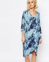 Just Female Earth Long Jersey Dress in Blue Print