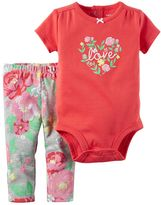Carter's Baby Girl Shirred Bodysuit & Floral Pants Set