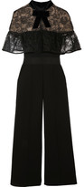 Self-Portrait Paisley Velvet-trimmed Embroidered Tulle And Crepe Jumpsuit - Black