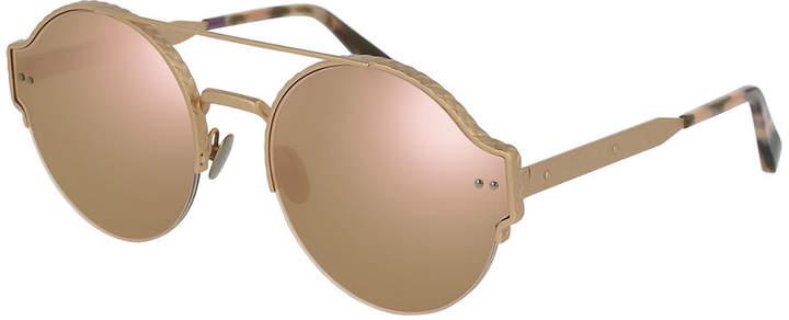 Bottega Veneta Round Mirrored Brow-Bar Sunglasses