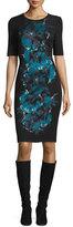 St. John Floral-Jacquard Crewneck Knit Dress, Caviar/Multi