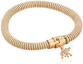 "lonna & lilly Stones"" Worn Gold-Tone and Natural Mesh Tube Elephant Charm Bracelet, 8"""