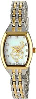 Game Time Women's MLB-WCL-CLE World Class Two-Tone Stones Analog Display Japanese Quartz Silver Watch
