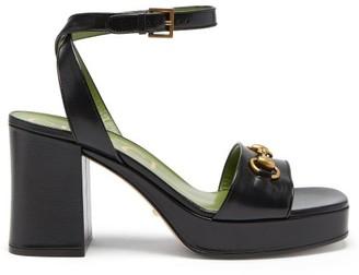 Gucci Houdan Horsebit Leather Platform Sandals - Black