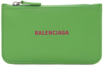 Balenciaga Grained Leather Zip Card Holder
