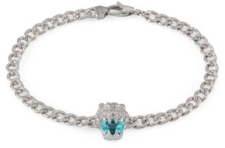 Gucci Lion head 18k bracelet with aquamarine