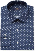 Club Room Men's Classic/Regular Fit Wrinkle Resistant Navy Medallion Dress Shirt, Only at Macy's