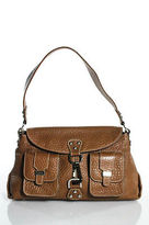 Rafe New York Brown Leather Embossed Silver Tone Shoulder Handbag In Dust Bag