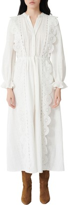 Maje Lace Cotton Long Sleeve Maxi Dress