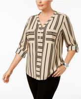 NY Collection Plus Size Striped Zip-Front Utility Blouse