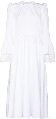 Giambattista Valli Lace Trim Cotton Midi Dress