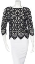 Frame Lace Three-Quarter Sleeve Top