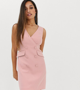 Forever New Petite button detail tux dress in pink