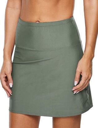 Mycoco Women's Super High Waist Swim Shorts Shirred Tummy Control Tankini Bottom Swimwear Brief - Black - 14