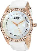 Badgley Mischka Women's BA/1334WMRG Swarovski Crystal Accented Rose Gold-Tone White Leather Strap Watch