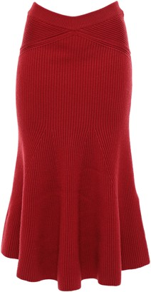 Victoria Beckham Fluted Ruffled Ribbed Wool Midi Skirt