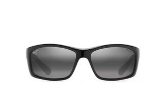 Maui Jim Sunglasses | Kanaio Coast 766-34UTD | Gloss Black/White/Red Manutd Wrap Frame Polarized Neutral Grey Lenses with Patented PolarizedPlus2 Lens Technology Medium-Large
