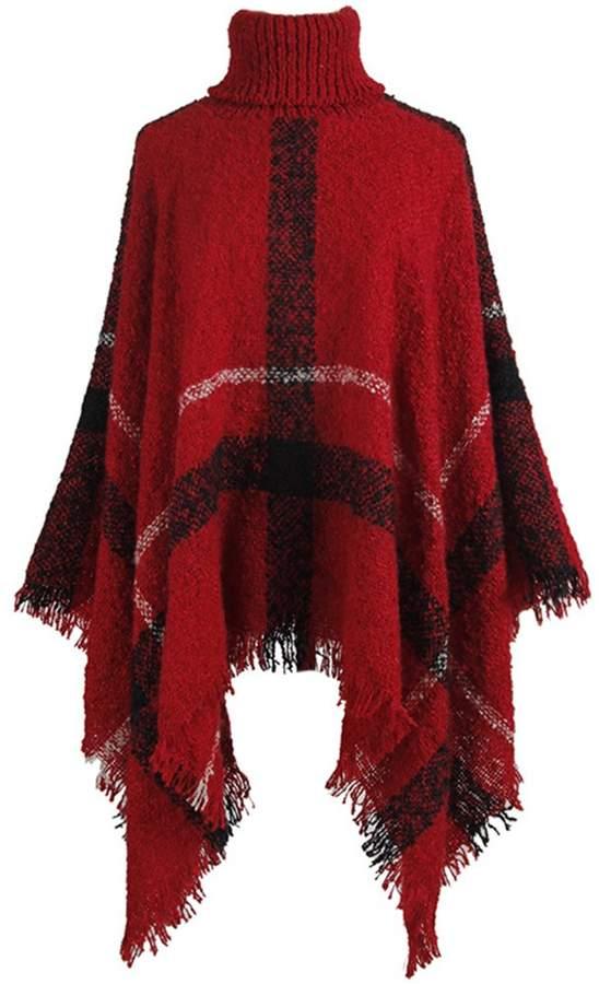 FCYOSO Womens Elegant Tassel Poncho Cape Shawls Batwing Knit Sweater