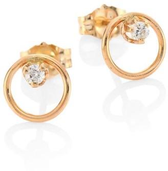 Zoë Chicco Diamond & 14K Yellow Gold Circle Stud Earrings