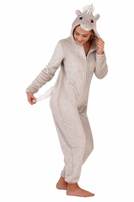 Loungeable Boutique Loungeable Ladies Onesies - Silver Sparkle Unicorn - Size - X-Large