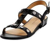 Neiman Marcus Bela Studded Strappy Flat Sandal, Black