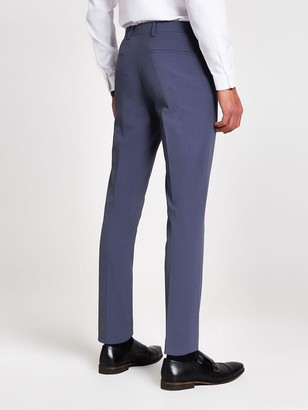 River Island Stretch Skinny Suit Trousers -- Blue