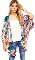 TONSEE Women Casual Floral Chiffon Kimono Cardigan Robe Jacket Blouse Tops (L)