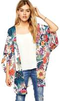 TONSEE Women Casual Floral Chiffon Kimono Cardigan Robe Jacket Blouse Tops (S)