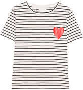 Chinti and Parker Printed Striped Cotton-jersey T-shirt - Black