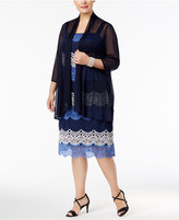 R and M Richards Plus Size Lace Colorblocked Dress and Sheer Jacket