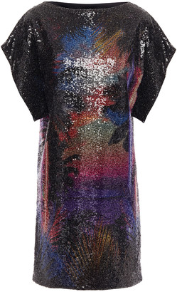 Balmain Printed Sequined Stretch-tulle Mini Dress