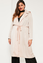 Missguided Plus Size Exclusive Nude Satin Duster Jacket