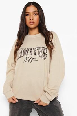 boohoo Petite Leopard Limited Print Sweatshirt