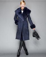 The Fur Vault Toscana Shearling Hooded Wrap Coat