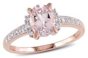 Macy's Morganite (1-1/7 ct. t.w.) and Diamond (1/20 ct. t.w.) Ring in 18k Rose Gold Over Sterling Silver